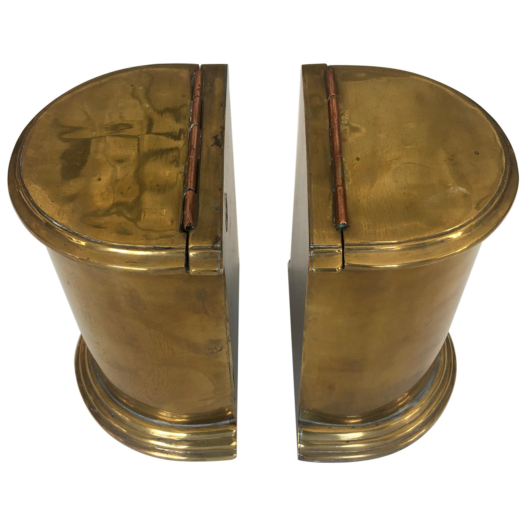 Handsome Pair of Antique English Cast Brass and Copper Bookends
