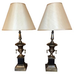 Handsome Pair of Brass Urn Shaped Table Lamps