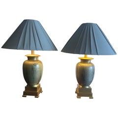 Handsome Pair of Enameled Brass Table Lamps