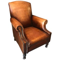 Handsome Pair of English Georgian Style Leather Club Chairs with Nail Head Trim
