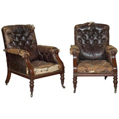 Handsome Pair of George IV Country House Library Chairs, circa 1825