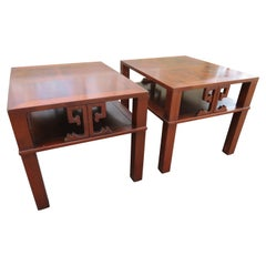 Handsome Pair of Heritage Henredon Asian End Table/ Night Stands Flame Mahogany