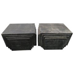 Handsome Pair of James Mont Style Stacked Pyramid Cerused End Tables