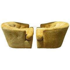 Handsome Pair of John Stuart Swivel Barrel Back Lounge Chairs Mid-Century Modern