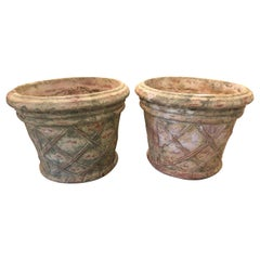 Handsome Pair of Lattice Decorated Terracotta Planters Urns