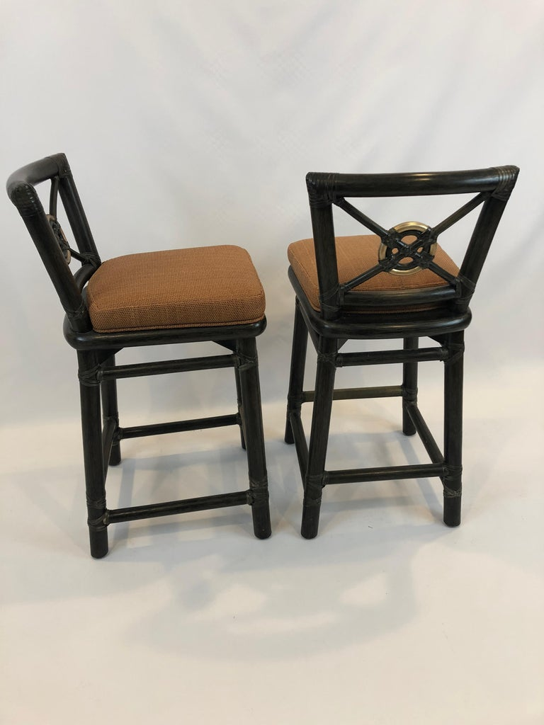Handsome Pair Of Mcguire Bamboo Counter Stools With Bronze
