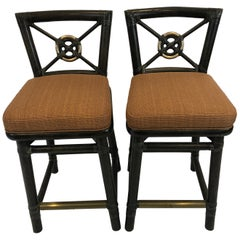 Handsome Pair of McGuire Bamboo Counter Stools with Bronze Foot Rail