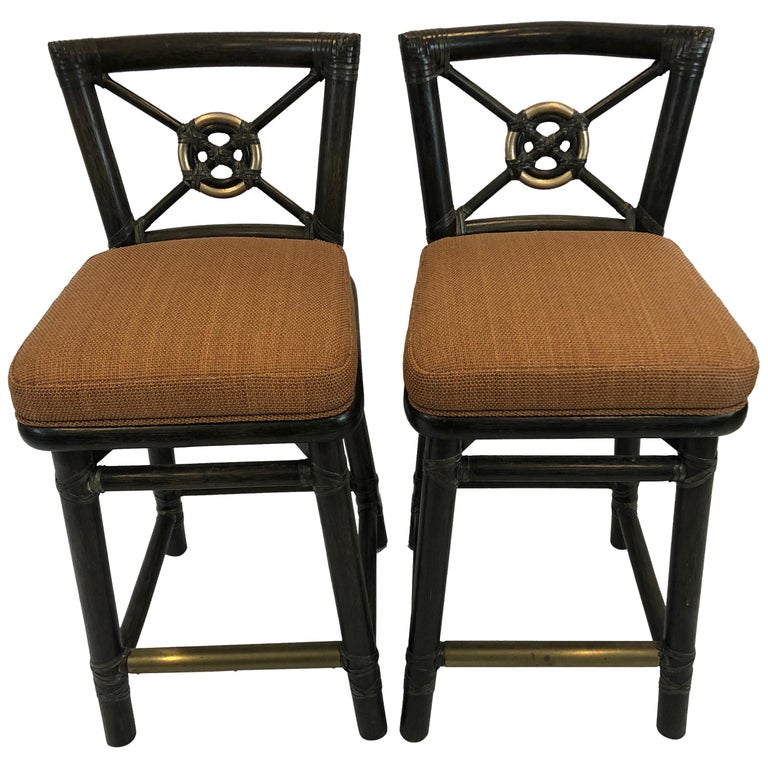 Miraculous Handsome Pair Of Mcguire Bamboo Counter Stools With Bronze Foot Rail Pdpeps Interior Chair Design Pdpepsorg