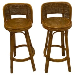 Handsome Pair of Mid-Century Modern Woven Rattan Barstools