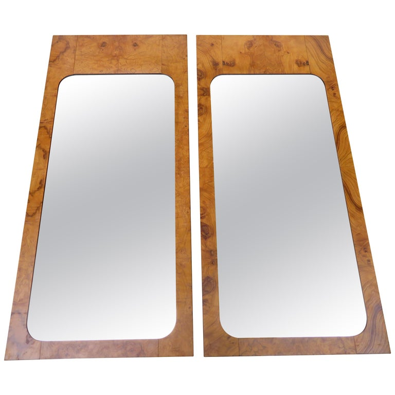 Handsome Pair of Lane Burl Mirrors Mid-Century Modern For Sale