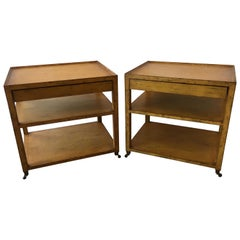 Handsome Pair of Mustard Mahogany Three-Tier Side Tables Nightstands with Drawer