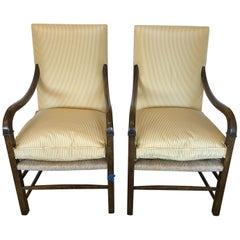 Handsome Pair of Nancy Corzine Rush Seat Upholstered Armchairs