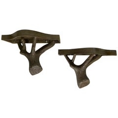 Handsome Pair of Organic Faux Bois Wall Brackets
