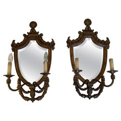 Handsome Pair of Shield Back Mirror Two-Arm Sconces by Maitland Smith