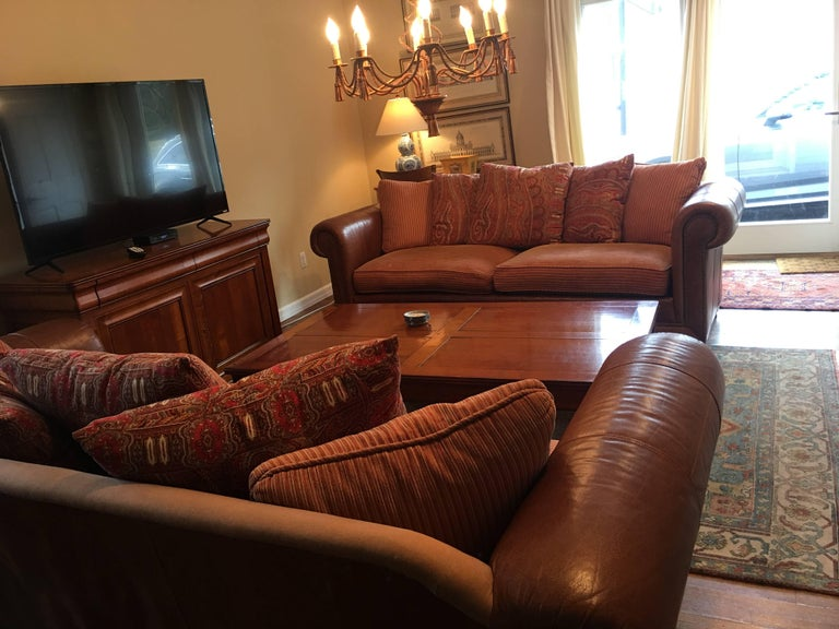 American Handsome Pair of Well Loved Ralph Lauren Comfy Sofas