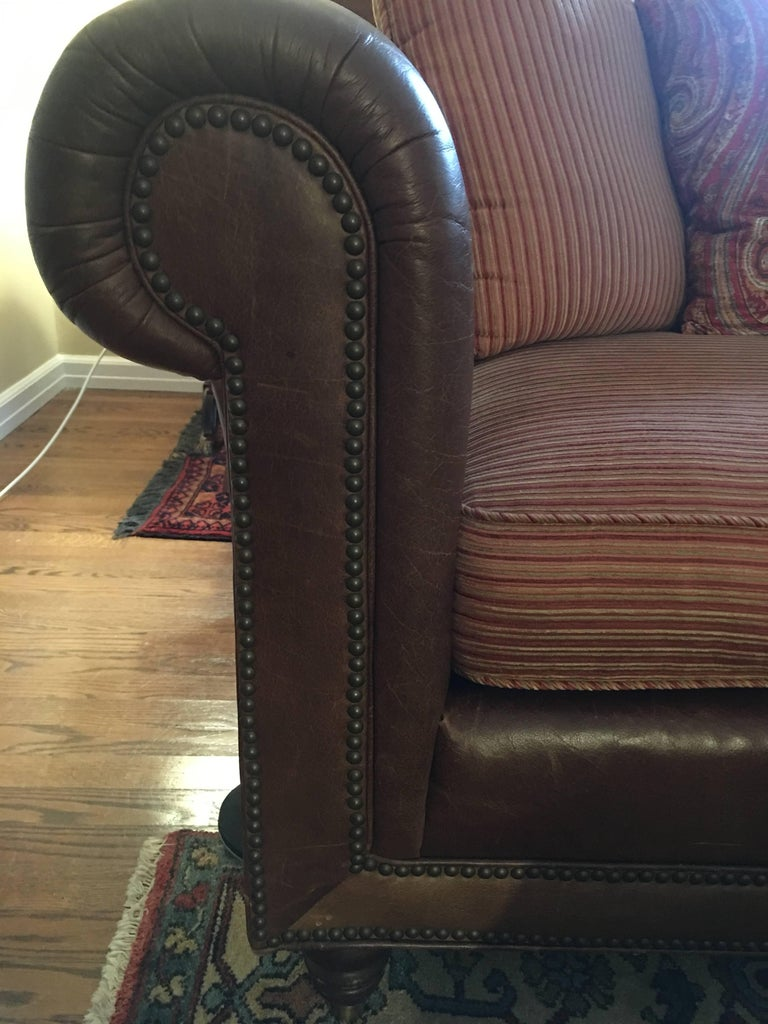 Handsome Pair of Well Loved Ralph Lauren Comfy Sofas In Good Condition In Hopewell, NJ