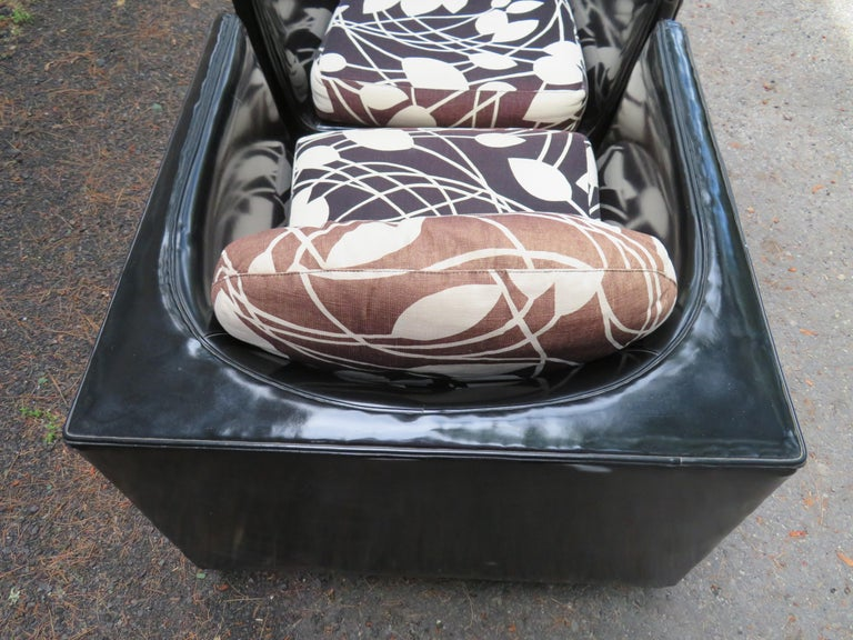 Handsome Pair of Signed Selig Cube Lounge Chairs Mid-Century Modern For Sale 9