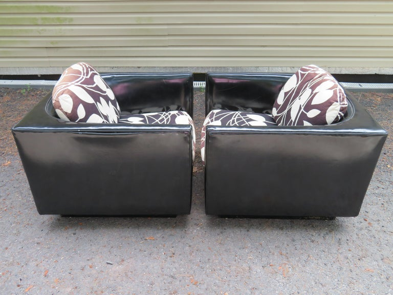 Handsome Pair of Signed Selig Cube Lounge Chairs Mid-Century Modern For Sale 10