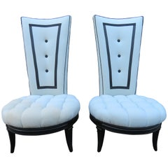 Handsome Pair Tuxedo Style Tall Back Tufted Slipper Chairs Hollywood Regency