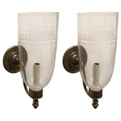 Handsome Pair Vaughan Ditchley Storm Bronze Sconce Etched Glass Hurricane Shade