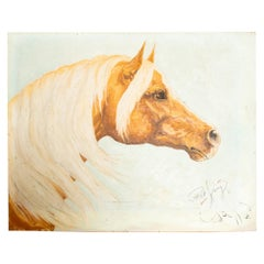 Handsome Pensive Palomino Horse Oil Painting Midcentury Art Signed Pat King 1969