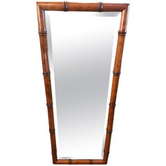 Handsome Rectangular Faux Bamboo and Bevelled Mirror