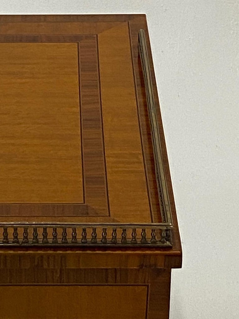 Handsome Regency Style Mahogany and Satinwood Inlay Chest Cabinet Nightstand For Sale 7