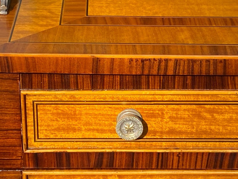Handsome Regency Style Mahogany and Satinwood Inlay Chest Cabinet Nightstand For Sale 11