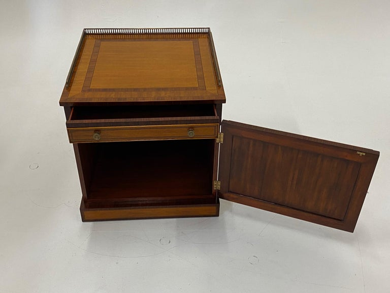 Philippine Handsome Regency Style Mahogany and Satinwood Inlay Chest Cabinet Nightstand For Sale