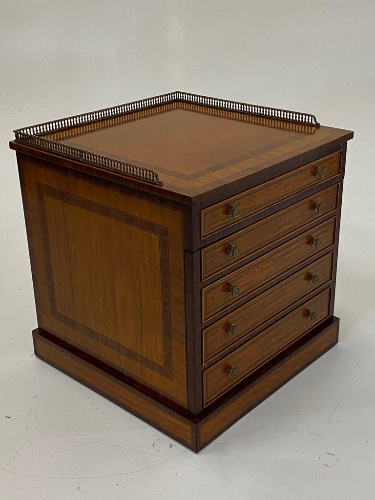 Handsome Regency Style Mahogany and Satinwood Inlay Chest Cabinet Nightstand For Sale 4