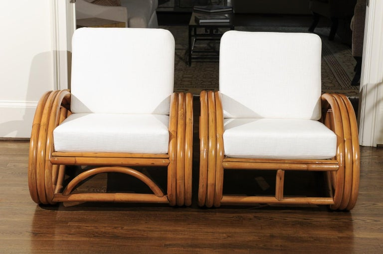 Mid-20th Century Handsome Restored Pair of Pretzel Loungers, circa 1950 For Sale