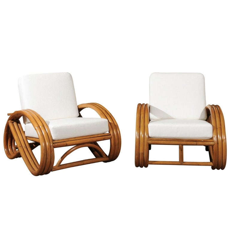 Handsome Restored Pair of Pretzel Loungers, circa 1950 For Sale