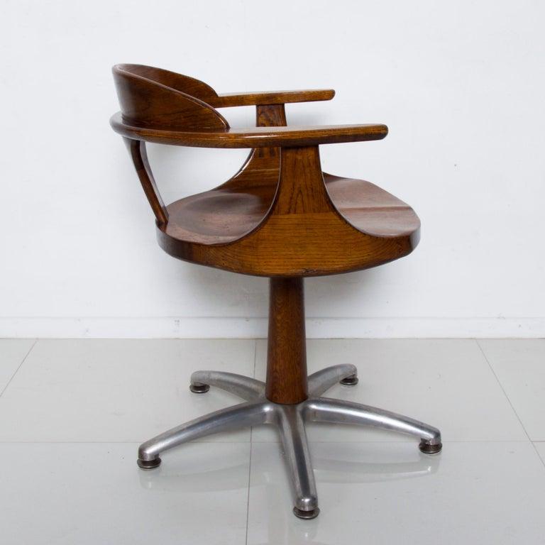 Modern Handsome RH Vintage Solid Oak Captain's Swivel Desk Chair Task Office Use For Sale