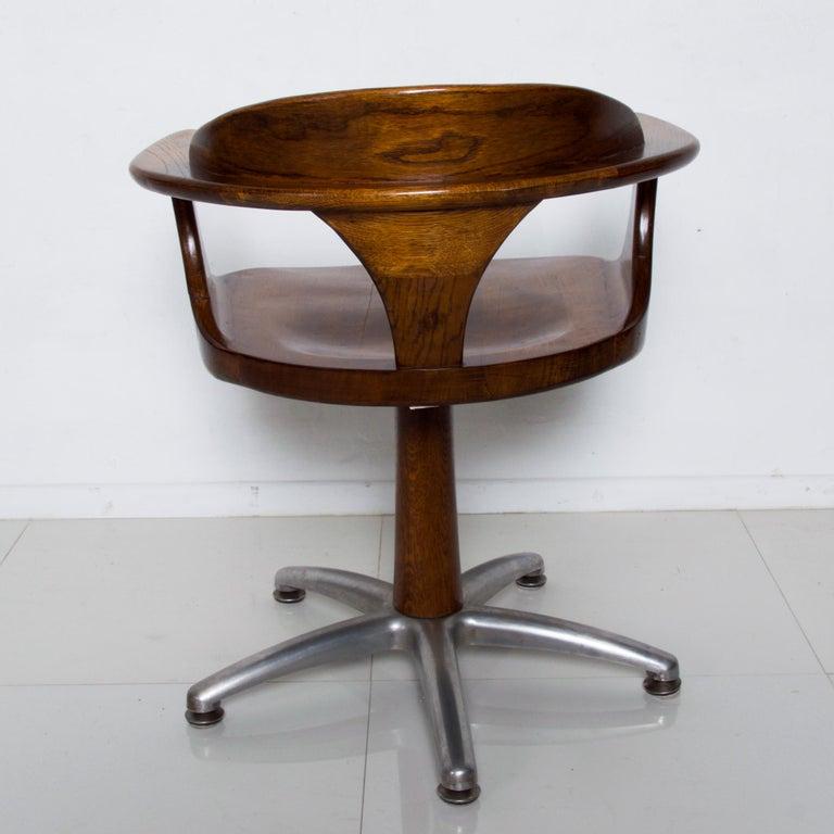 Handsome RH Vintage Solid Oak Captain's Swivel Desk Chair Task Office Use For Sale 1