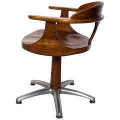 Handsome RH Vintage Solid Oak Captain's Swivel Desk Chair Task Office Use