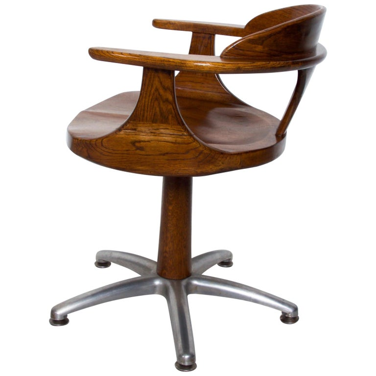 Handsome RH Vintage Solid Oak Captain's Swivel Desk Chair Task Office Use For Sale