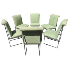 Handsome Set 6 Milo Baughman for Thayer Coggin Chrome Dining Chairs Mid-Century
