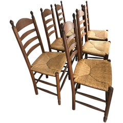 Handsome Set of 6 Ladder Back Dining Chairs with Rush Seats