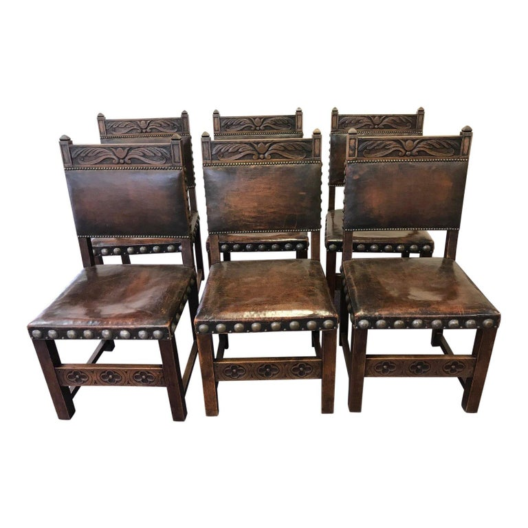 Handsome Set Of 6 Leather And Carved Wood French Dining