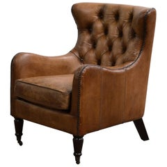 Handsome Set of Four Regency Style Leather Library Chairs with Tufted Backs