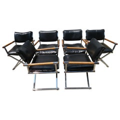 Handsome Set of Six Milo Baughman Style Chrome Directors Dining Chair Midcentury