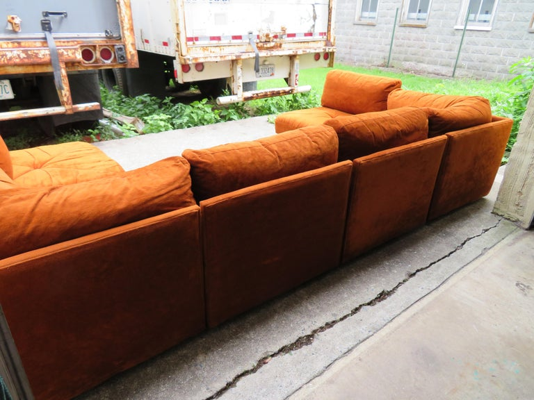 Handsome Six-Piece Milo Baughman Style Cube Sectional Sofa Mid-Century Modern For Sale 4