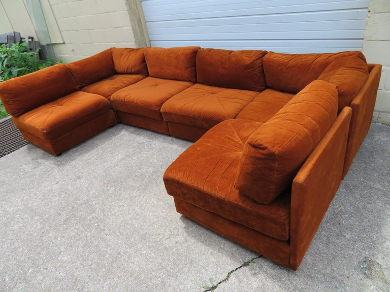 Handsome Six-Piece Milo Baughman Style Cube Sectional Sofa Mid-Century Modern For Sale 8