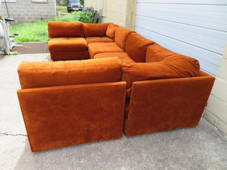 American Handsome Six-Piece Milo Baughman Style Cube Sectional Sofa Mid-Century Modern For Sale