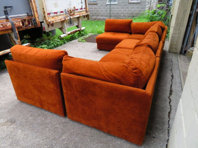 Handsome Six-Piece Milo Baughman Style Cube Sectional Sofa Mid-Century Modern For Sale 3
