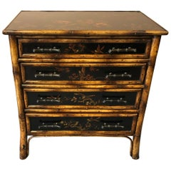 Handsome Small Faux Bamboo Chinoiserie Decorated Chest of Drawers Commode