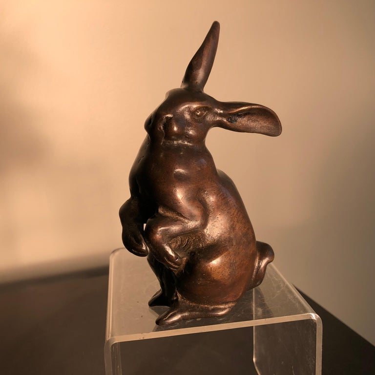 Taisho Handsome Tall Big Ears Chocolate Bronze Rabbit, Japanese Fine Details For Sale