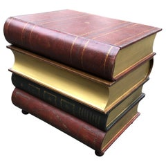 Handsome Trompe L'oeil Stack of Books Accent Side Table