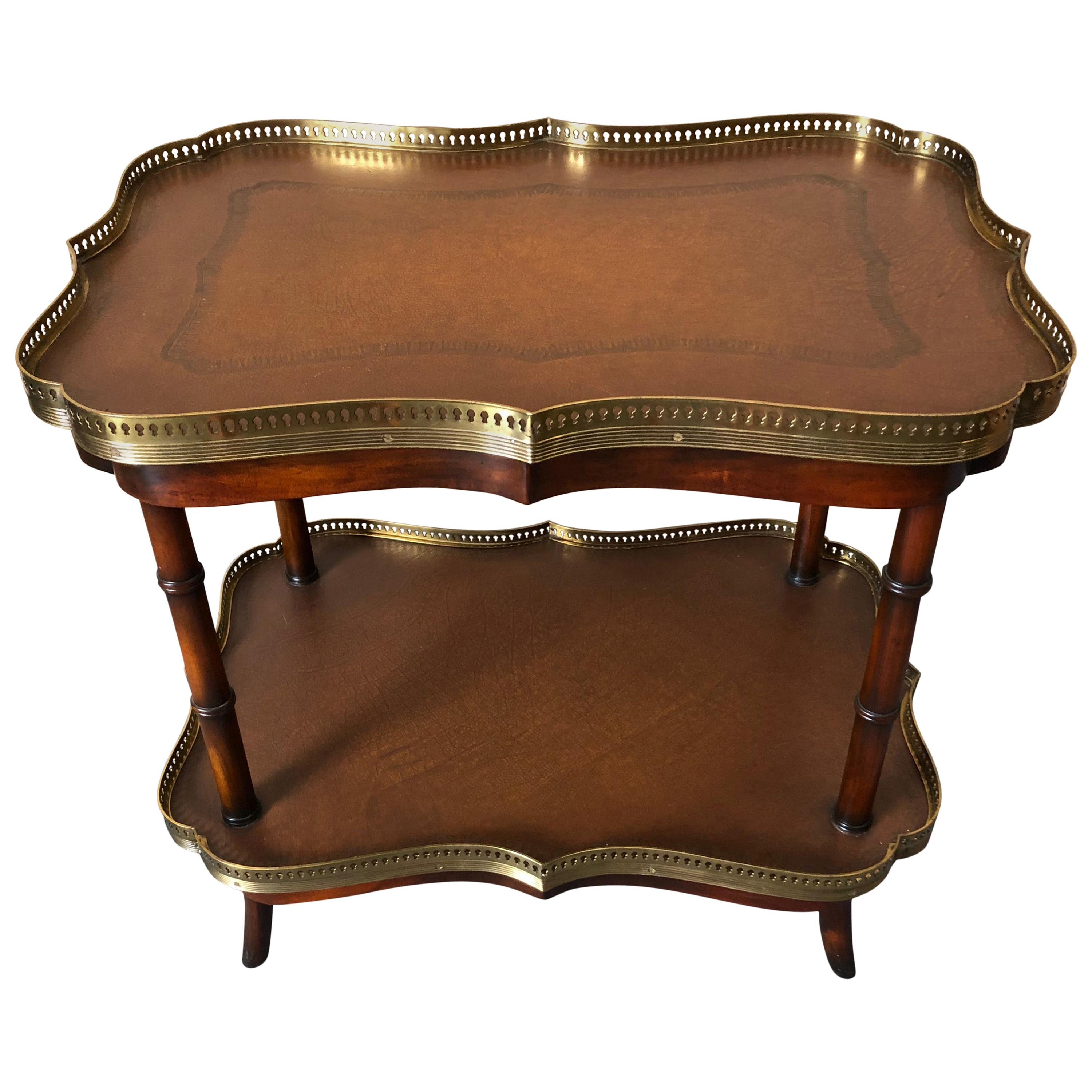 Handsome Two-Tier Leather and Wood Side Table or Bar Cart by Theodore Alexander