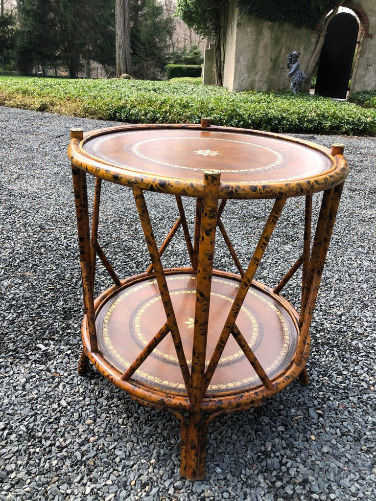 North American Handsome Two Tier Round Bamboo & Leather Side Table
